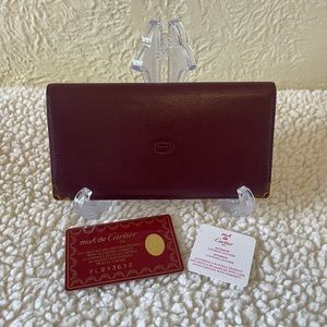 CARTIER must de calf leather burgundy long wallet